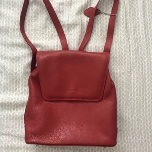 brand new i santi red leather backpack